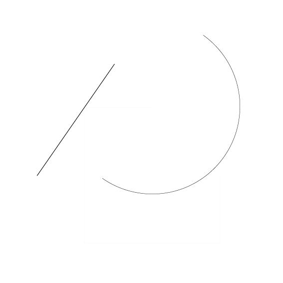 diagonale Linie von Links unten nach Rechts oben und Halbkreis nach Links oben geöffnet