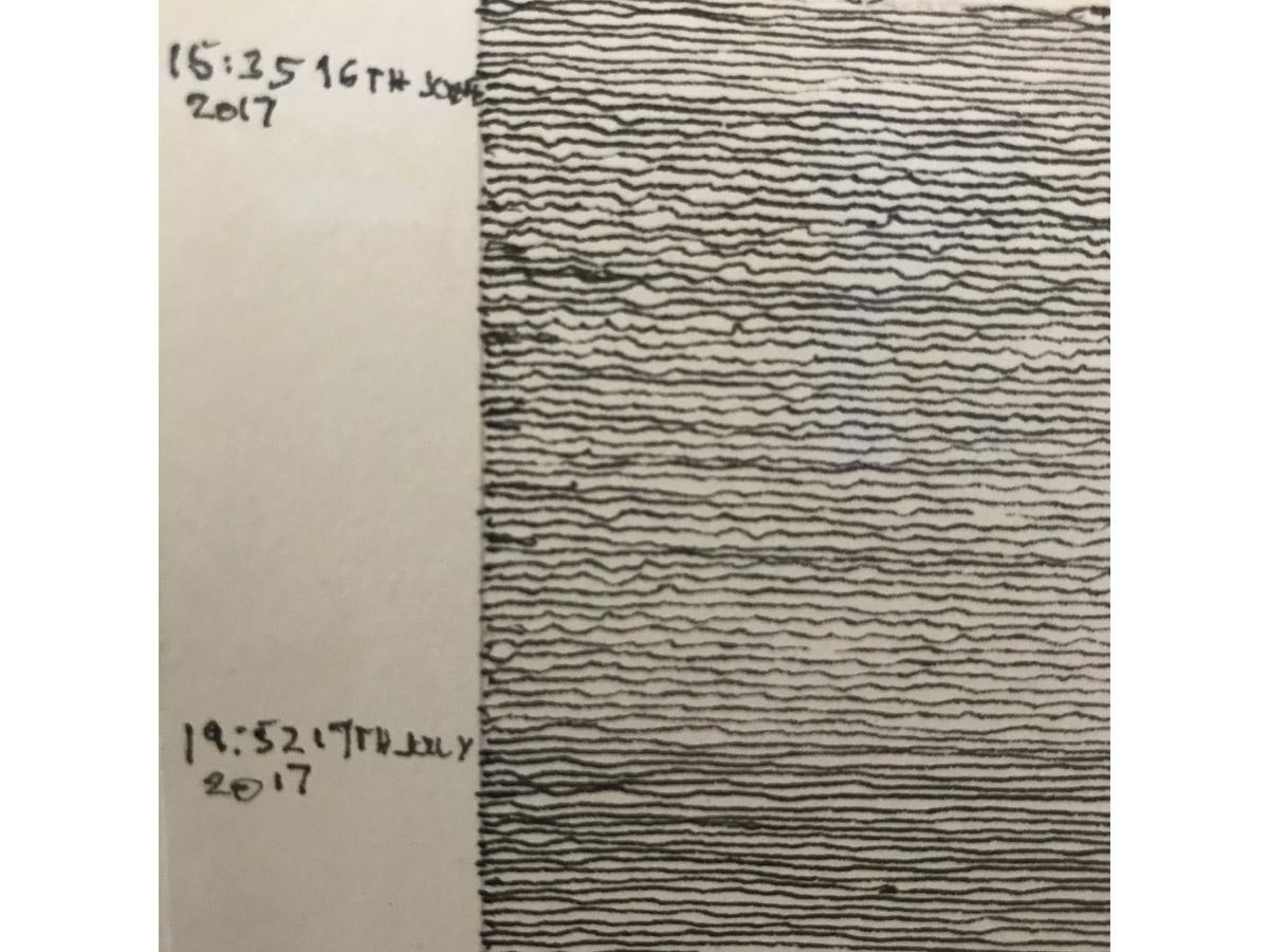 Detail-Aufnahme Werk von John Schmitz mit Datum 19:52 - 17.July 2017