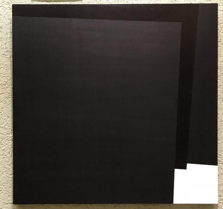 Acrylarbeit von Susanne Werdin in schwarz weiß - übereinander liegende Quadrate