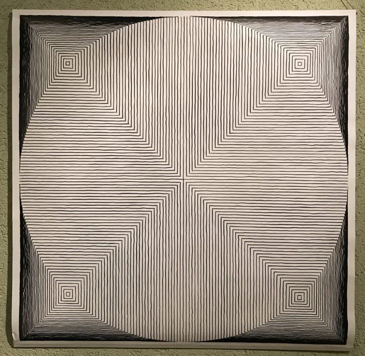 Tusche-Zeichnung von Susanne Werdin - Transformation vom Kreis zum Quadrat