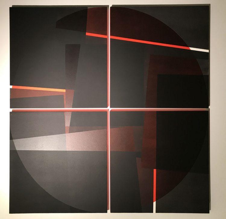 """4 teiliges Acrylbild von Susanne Werdin """"roter Kreis"""" mit rot leuchtenden Zwischenräumen"""