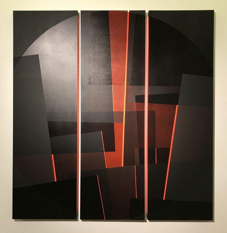 """Acrylarbeit """"roter Kreis 2"""" von Susanne Werdin, 3 Rechtecke mit Zwischenräumen, die rot leuchten"""