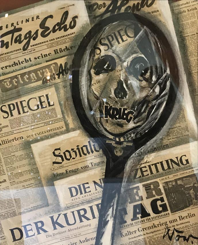 """Werk von Cavon Titel """"Krieg"""" 1949, Collage Zeitungspapier"""