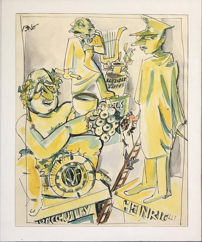 """Werk von Cavon Titel """"Monumente des Jahrhunderts"""" um 1938, Tusche, koloriert"""