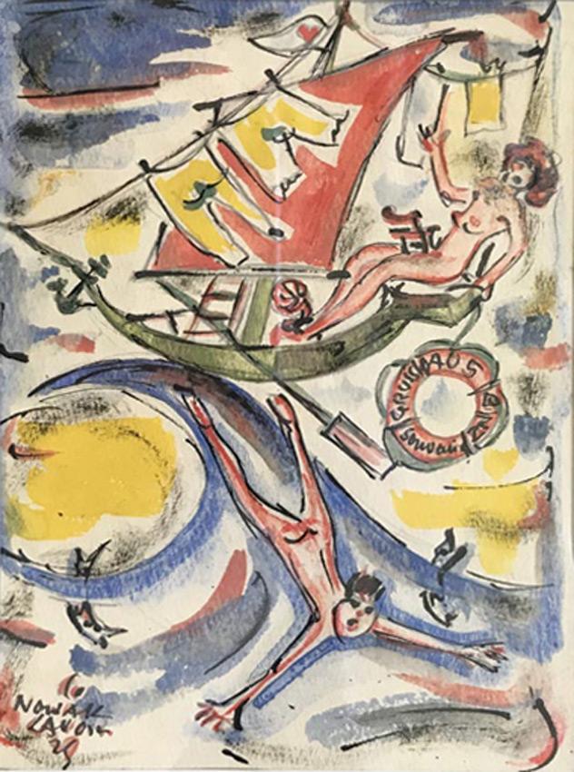 """Werk von Cavon Titel """"Gruß aus Binz"""" Tusche, koloriert von 1929"""