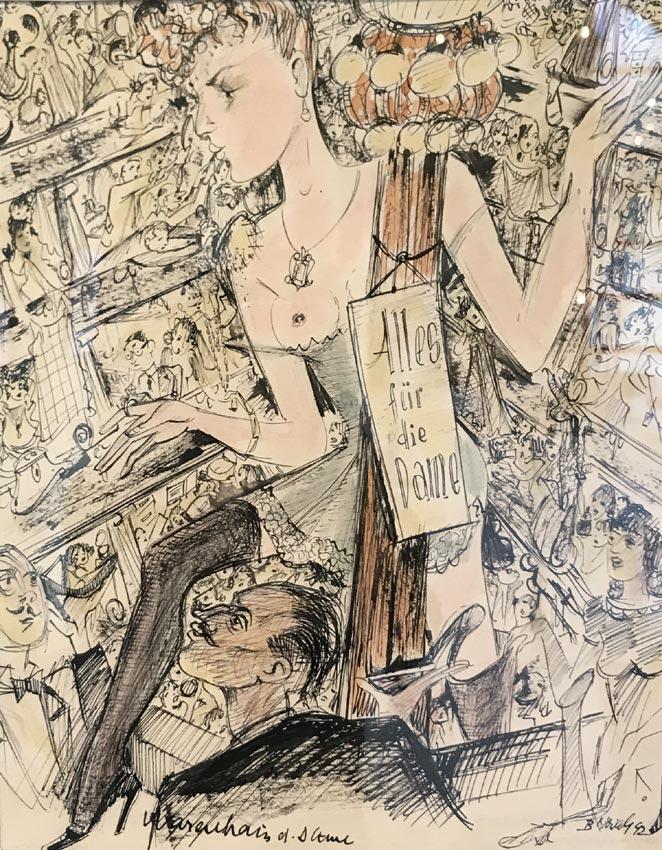 """Werk von Cavon Titel """"Warenhaus der Damen"""" 1942; Tusche, koloriert"""