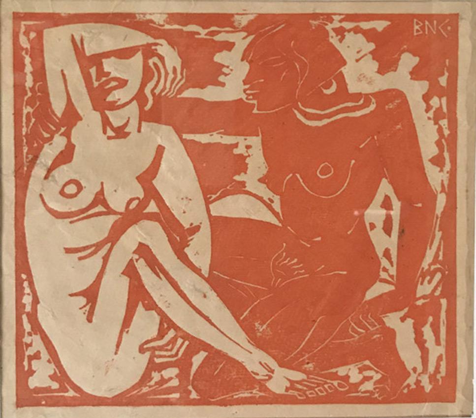 Werk von Cavon ohne Titel um 1932, Holzschnitt, koloriert