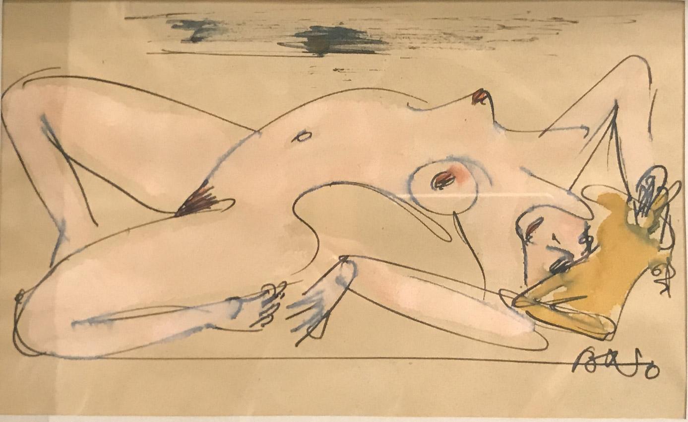 Werk von Cavon ohne Titel um 1960 Tinte, koloriert