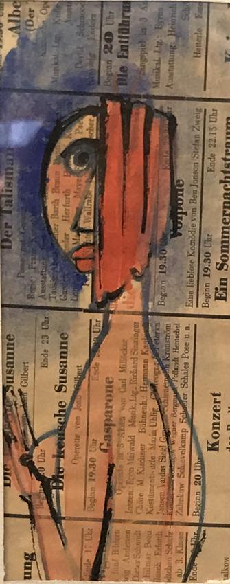 Werk von Cavon ohne titel um 1960, Mischtechnik, Collage bemalt