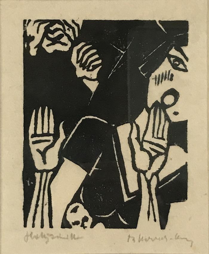 """Werk von Cavon Titel""""Kindsmörderin"""" um 1932, Holzschnitt"""
