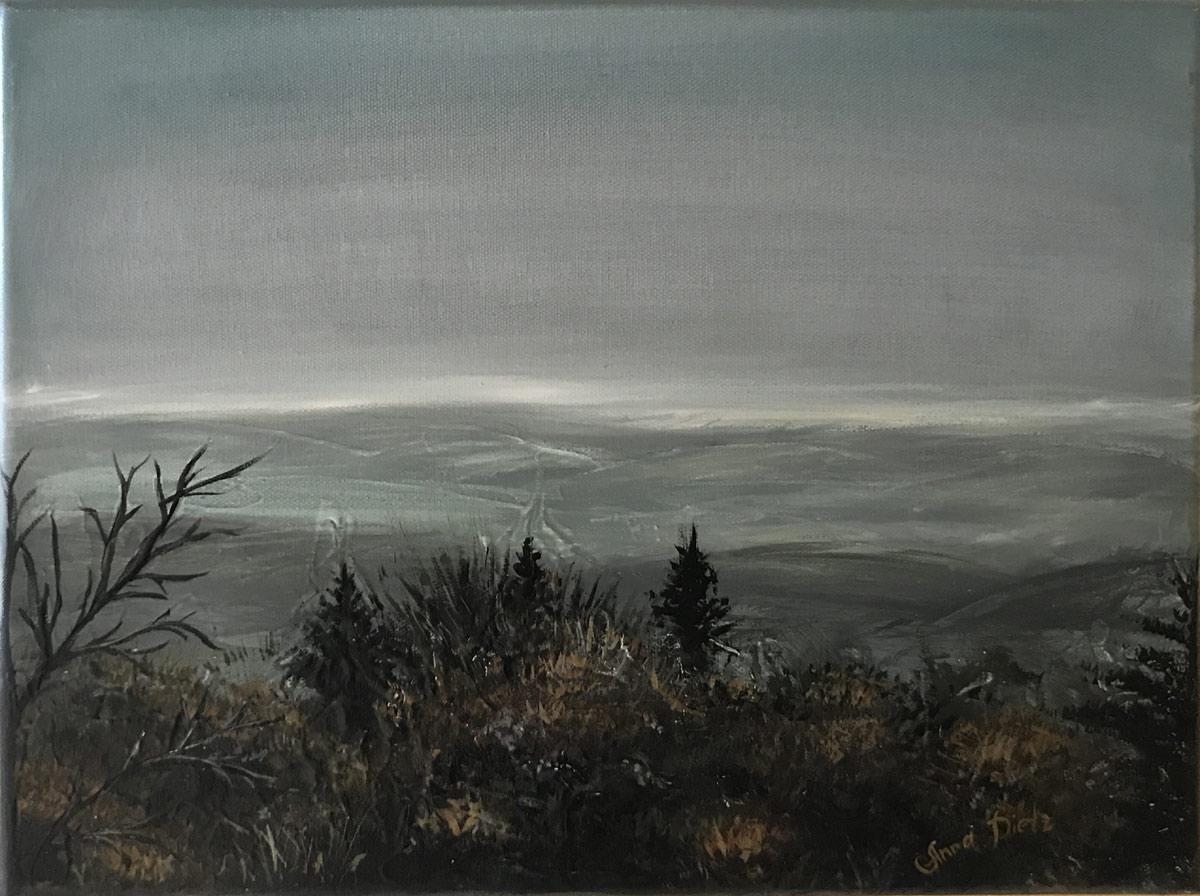 """Werk von Anna Dietz - Titel """"Aussicht vom Kösseingebirge"""" - Technik: Acryl - Größe: 30 x 40 cm"""