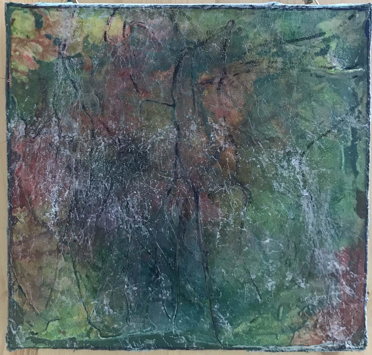 """Werk von Claudia Friedmann - Titel: """"zerkluftete Landschaft"""" - Technik: Holzkörper, Mischfarbe, Spachtel-Technik"""
