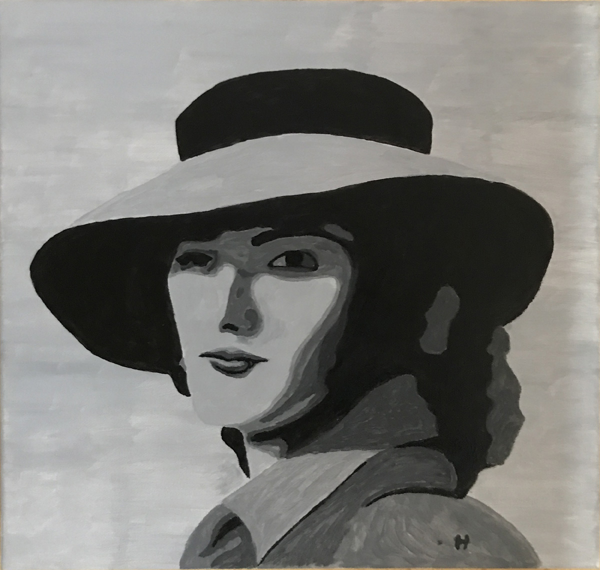 """Werk von Dr. Horst Zeitler - Titel: """"Frauenportrait in schwarz"""" - Technik: Aquarell"""