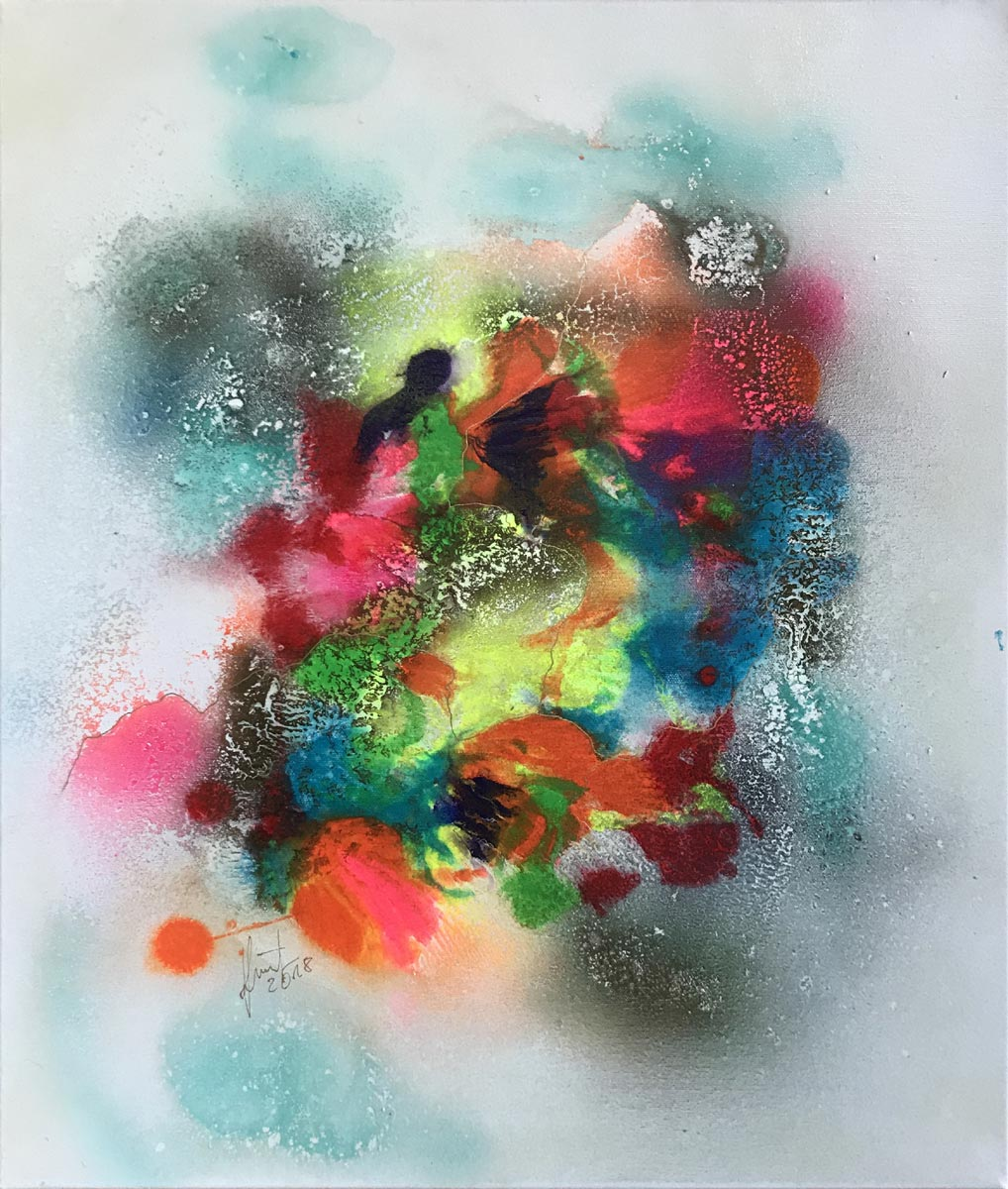 "Werk von Gisela Grünling - Titel ""Farbspektakel 20"" - Technik: Aquarell, Airbrush, Lack-Technik"