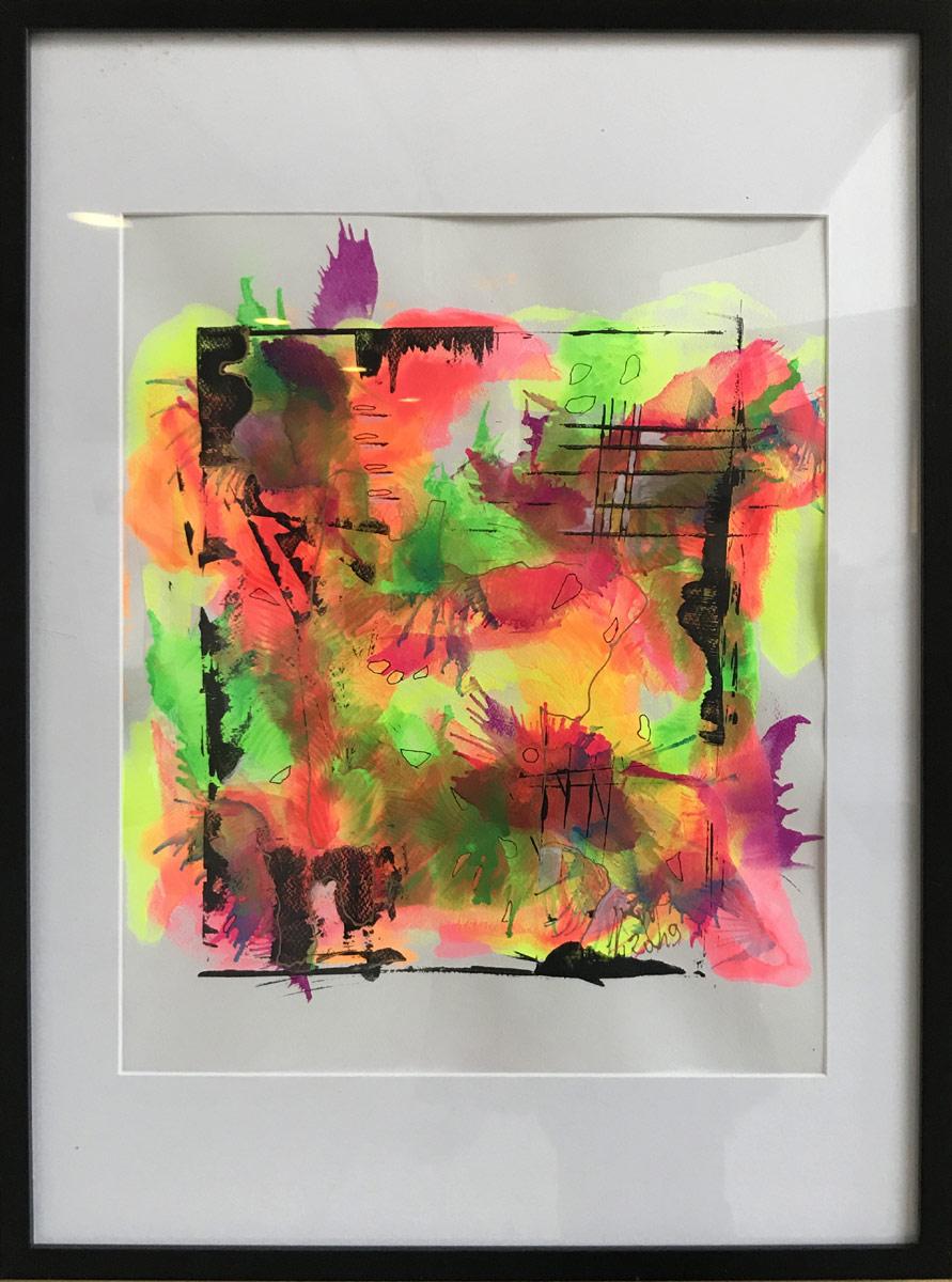 """Werk von Gisela Grünling - Titel """"Farbspektakel"""" - Technik: Monotypie"""