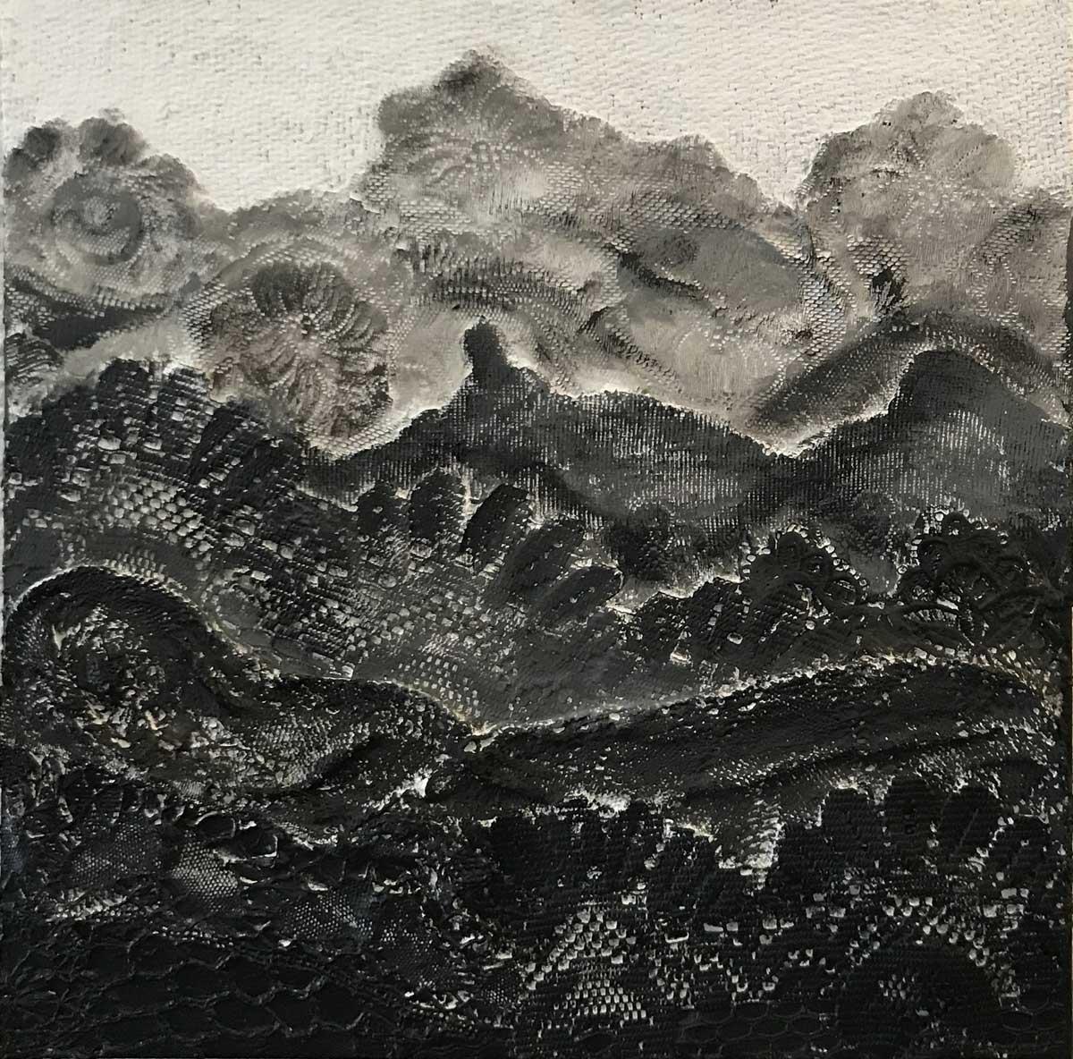 """Werk von Horst Kießling - Titel: """"Alles Spitze!"""" - Technik: Mischttechnik / Collage - Größe: 50 x 50 cm"""