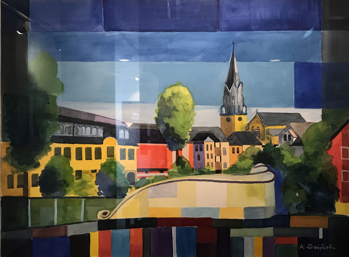"""Werk von Karl-Heinz Seifert - Titel:""""Blick auf die Selber Kirche"""" - Techik: Aquarell"""