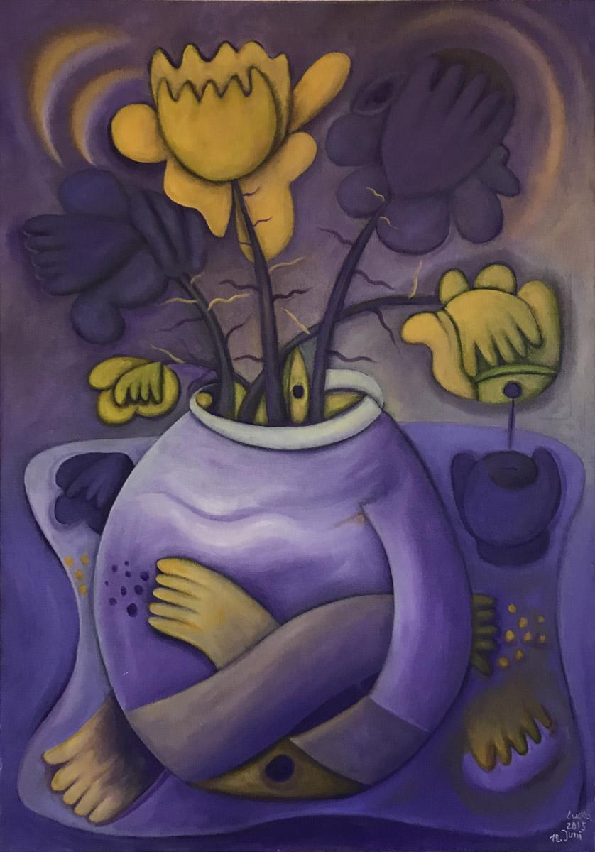 """Werk von Marion Lucka - Titel: """"Blüten in gelb / violett"""" - Technik: Öl"""