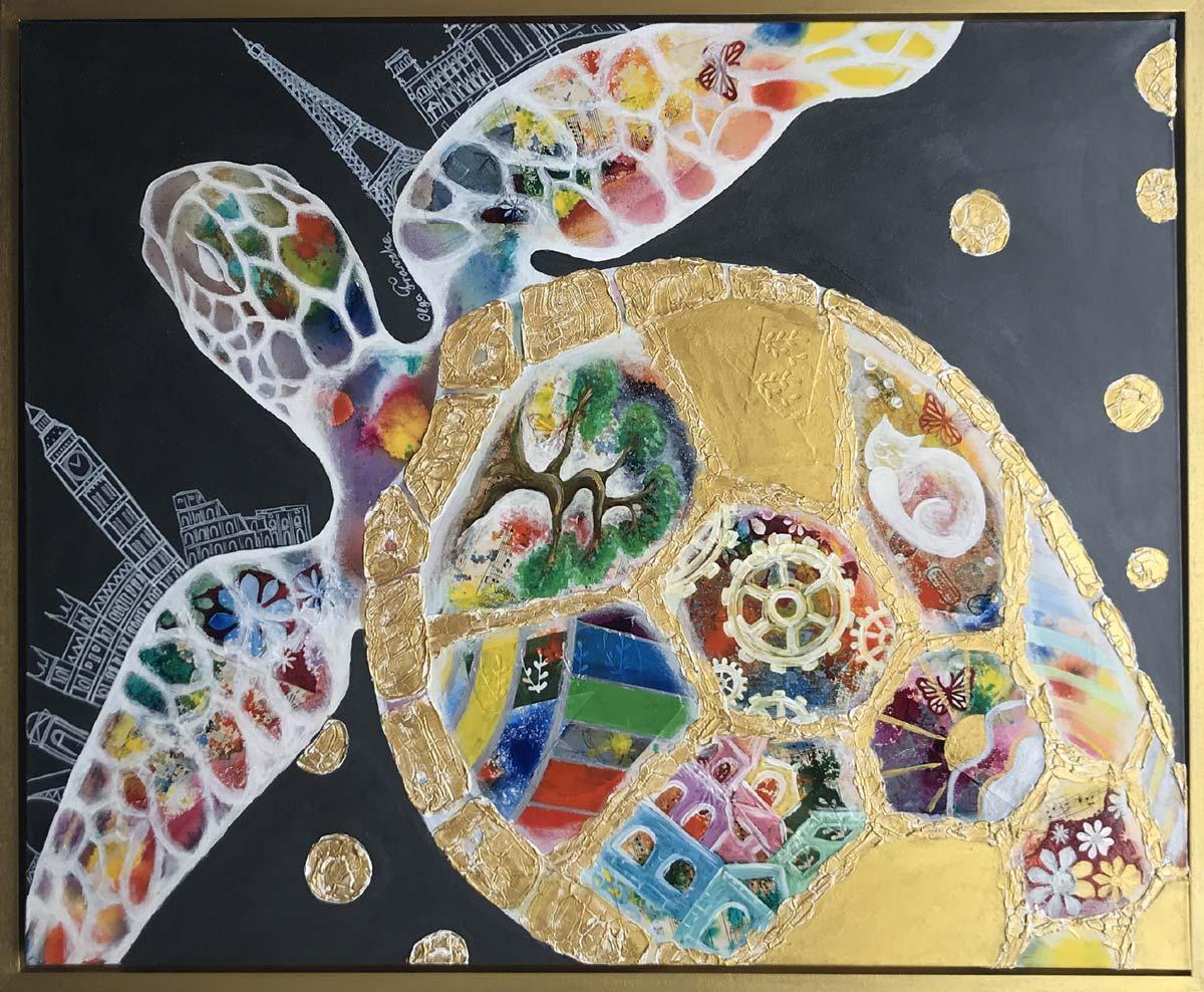 """Werk von Olga Franzke - Titel: """"Die Schildkröte"""" - Technik: Acryl - Größe: 100 x 80 cm"""