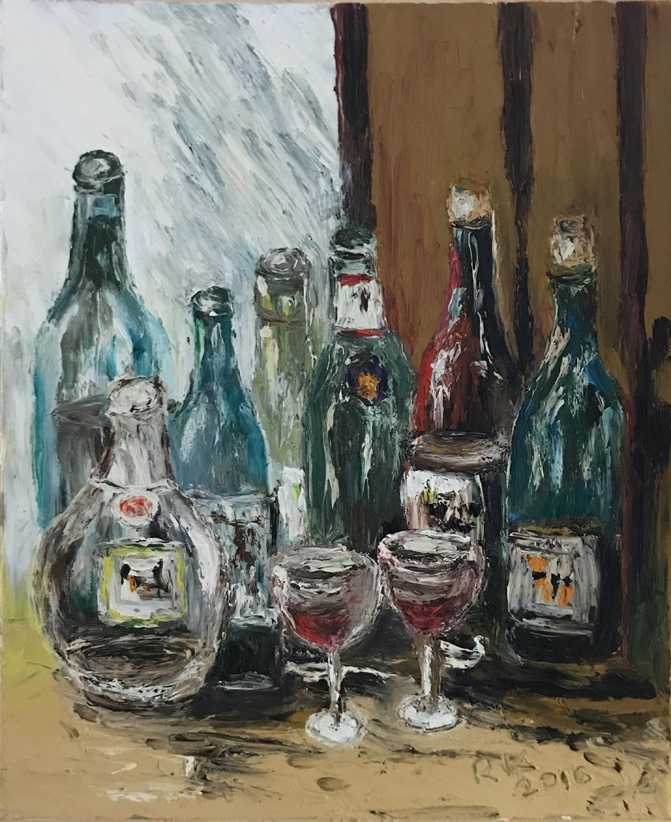 """Werk von Rudolf Köhler - Titel """"Stil-Leben mit Glas"""" - Technik: Fingermalerei / Öl"""