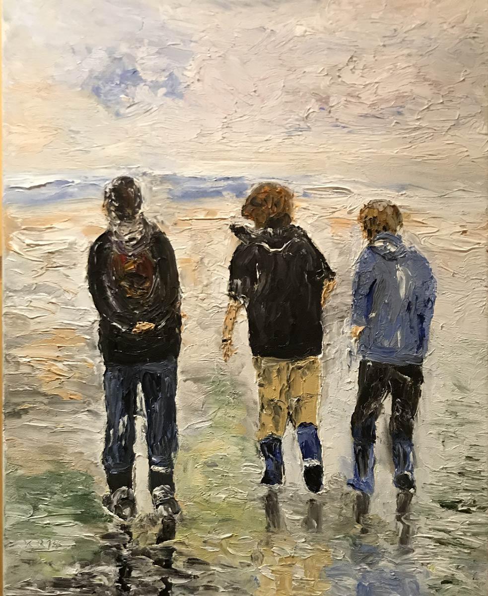 """Werk von Rudolf Köhler - Titel:""""Wandern am Strand / Föhr"""" - Technik: Fingermalerei / Öl"""