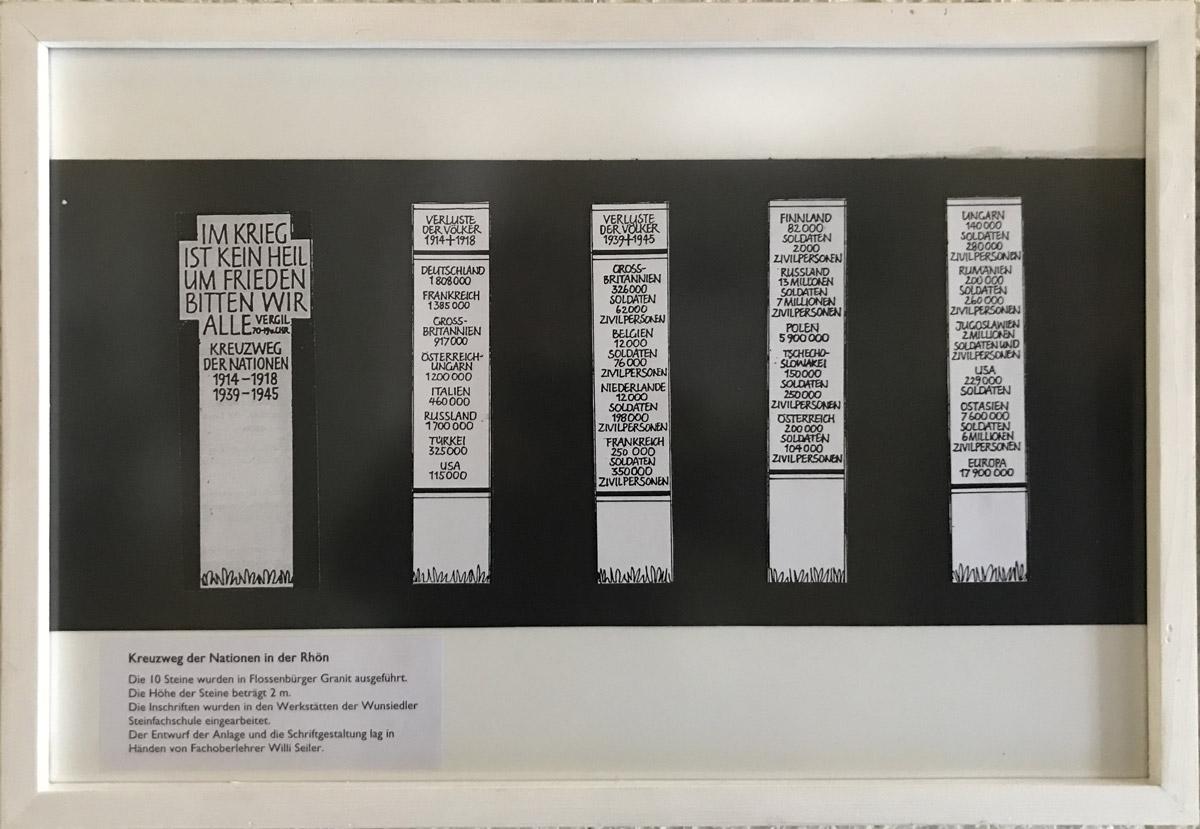 """Werk von Willi Seiler - Titel:""""Entwurf für Kreuzweg der Nation in der Röhn"""" - Technik: Grafik"""