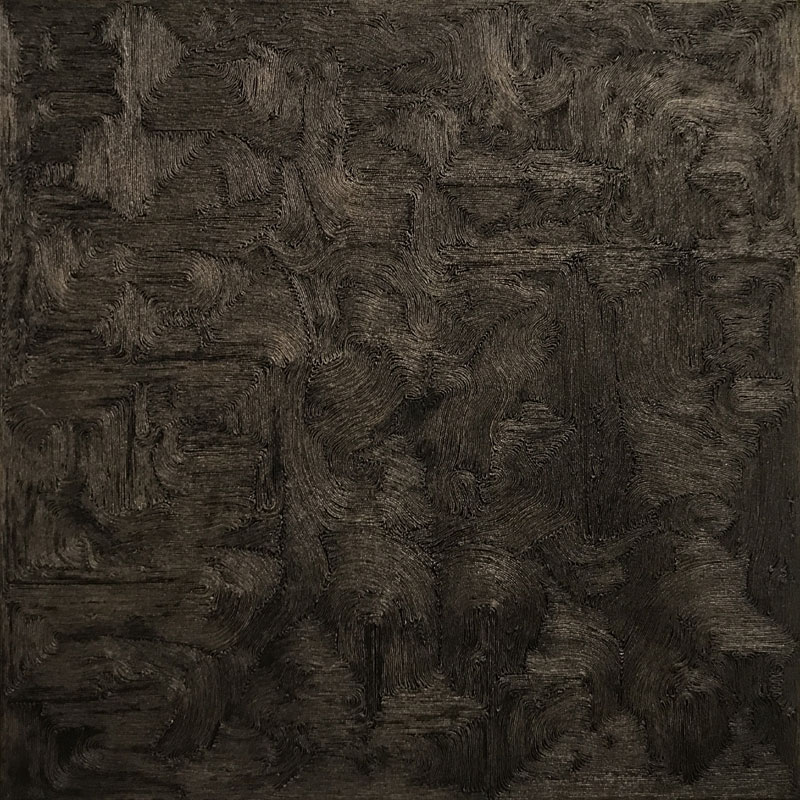 """Werk von Karl Heinz Kappl - """"Filo Casuale"""" - 2018 - Garn / Öl auf Leinwand - 40 x 40 cm"""