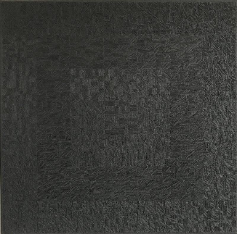 """Werk von Karl Heinz Kappl - """"Overlapping"""" - Öl Grottage auf Leinwand - 2014 - 50x50 cm"""