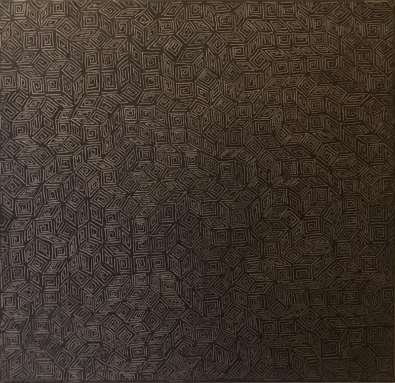 """Werk von Karl Heinz Kappl """"Victor"""" - Hommage an Victor Vasarely - 2013 - Öl Grattage auf Leinwand - 50 x 50cm"""