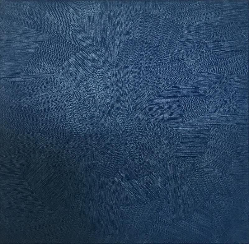 """Werk von Karl Heinz Kappl - Titel """"Roundabout"""" - Größe: 50 x 50 cm -Technik: Öl Grattage auf Leinwand - 2013"""
