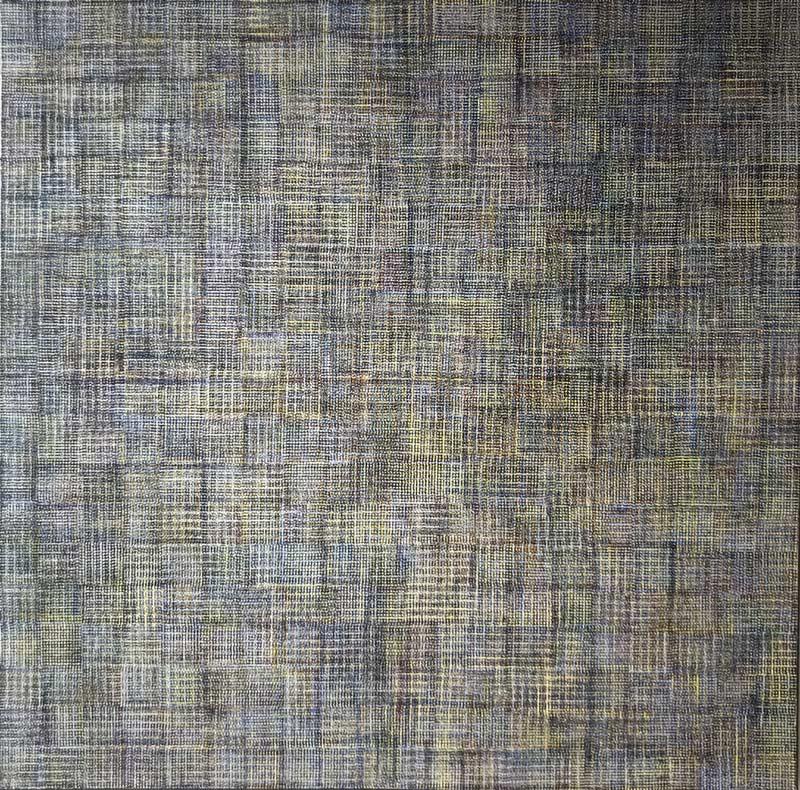 """Werk von Karl Heinz Kappl - """"Tessuto Cielo"""" - 2016 - Öl auf Leinwand - 100 x 100 cm"""